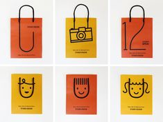 Clever shopping bags, esp. love the how the handles complete the faces. #packaging #beautiful #branding