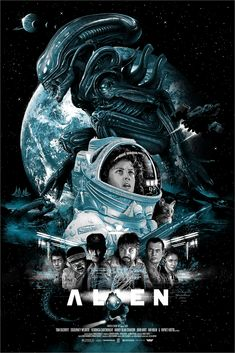 Alien poster by Vance Kelly Alien Movie Poster, Alien Film, Alien 1979, Aliens Movie, Horror Movie Posters, Cinema Posters, Film Posters, Horror Movies, Fantasy Movies