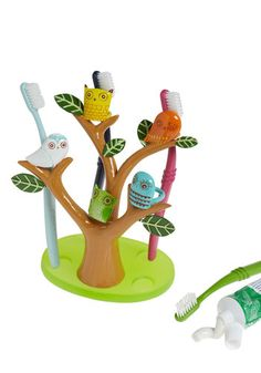 Go Brush Your Tree-th Toothbrush Holder - Multi, Orange, Yellow, Green, Blue, Brown, White, Owls, Dorm Decor, Best Seller, Best Seller, Quirky
