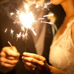 pretty photo op sparklers on wedding day
