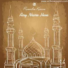 Write name on Ramadan Mubarak wish cards Eid Mubarak Banner, Happy Eid Mubarak, Ramadan Mubarak, Ramadan Cards, Ramadan Wishes, Eid Greetings Quotes, Hijri New Year, Eid Al Fitr Greeting, Eid Mubarak Images