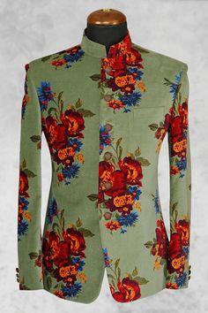Pastile #green smart #velvet suit with bandhgala collar-ST514