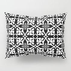 geometric pattern white on black Pillow Sham