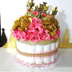 PINK and GOLD Baby Shower Diaper Cake Crown Centerpiece / Girls Royal Baby Shower / Little Princess Baby Shower Theme and Decorations