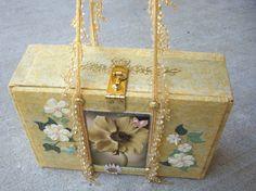 Yellow 'friends' cigar box purse