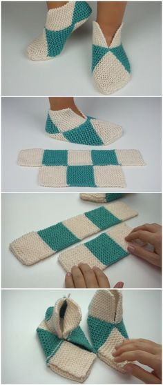 Easy To Fold Slippers - To Crochet Or To Knit - - Crochet. einfach Hausschuhe Easy To Fold Slippers - To Crochet Or To Knit - Easy Knitting, Loom Knitting, Knitting Stitches, Knitting Socks, Knitting Patterns, Crochet Patterns, Blanket Patterns, Crochet Shoes, Diy Crochet