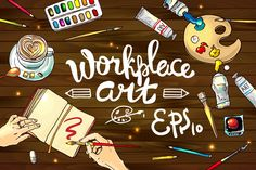 Vector illustration worcplace art by Hand-drawn vector on Creative Market