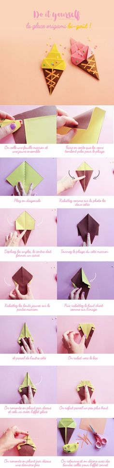 Beste Origami-Anleitungen - Eis Origami-Easy DIY Origami - Diy and Crafts YazYaz. Diy Origami Box, Origami And Kirigami, Origami Rose, Useful Origami, Paper Crafts Origami, Paper Crafting, Oragami, Origami Bookmark, Origami Hearts
