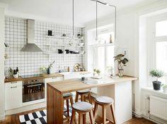 îlot cuisine design nordique peninsule chaise bois bar
