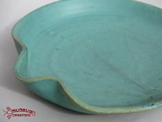 Serving Plate  Green with Hand Grip by MudbugCreations on Etsy, $15.00