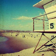 Beach decor, vintage beach, ocean beach, san diego, summer, sand, ocean, surf , beach art - Five, 8x8 photograph