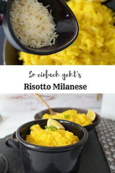 Risotto Milanese Rezept ganz einfach zubereitet. #Risotto muss nicht schwer sein, denn mit ein paar Tipps und Tricks gelingt es garantiert und das in kurzer Zeit. Risotto Milanese ist ein italienisches Rezept, dass durch Safran, Parmesan und Zitrone einen Hauch Süden in die Küche zaubert. #rezept #mittagessen #italienisch #milanese #vegetarisch