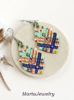 RESERVED for Susan Bohemian feathers macrame earrings