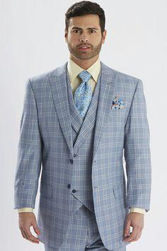 Steven Land Men's Blue Windowpane Riley 3 Piece Suit - SL77260