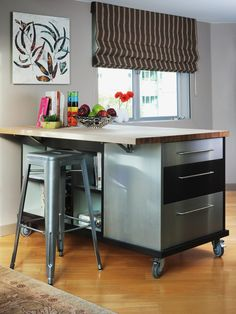 This workspace does double duty, providing a space to prepare food or for kids to work on homework.