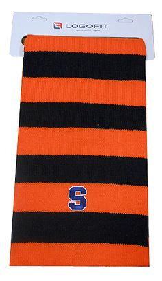 Preppy Orange and Navy Blue Rugby Stripe Block S Syracuse Scarf by LogoFit