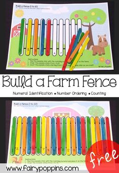 Free Farm Themed Number Ordering Mats 0 To Use With Popsicle Sticks Fairy Poppins Farm Activities, Preschool Activities, Free Printables Preschool, Preschool Learning Centers, File Folder Activities, Quiet Time Activities, Movement Activities, Physical Activities, Preschool Lessons