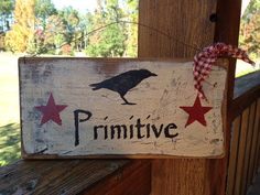 FOLK ART Primitive Crow sign with barn red by AmericasFrontPorch, $10.00