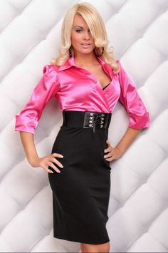 sexy woman in satin blouse - Bing images Pink Satin Blouse, Satin Skirt, Satin Blouses, Satin Dresses, Dress Skirt, Bodycon Dress, Dress Pants, High Waisted Pencil Skirt, Sexy Blouse