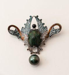Rare Egyptian Revival Scarab Beetle Brooch