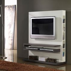 Meuble TV design gris et blanc laqué - Deco et saveurs Wall Unit Designs, Tv Unit Design, Tv Wall Design, Tv Design, Tv Wall Shelves, Tv Wall Cabinets, Deco Tv, Tv Stand Furniture, Tv Wand