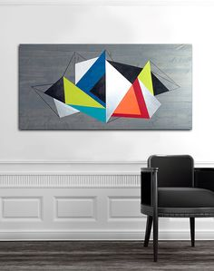 "Modern wood & metal wall art handcrafted in South Florida | ""Geometric Illumination"", size 48x24"" with gray wood stain, metal and vibrant acrylic paint colors. Visit my Etsy shop today to see all my designs! I also take custom orders."