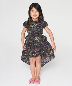 Loving this Black Floral Hi-Low Dress - Toddler & Girls on #zulily! #zulilyfinds