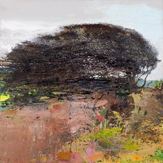 Kurt Jackson - Ravens call in the winter's sun. A breeze blows, the hawthorn shivers. 2011 mixed media 91.5 x 91.5cm