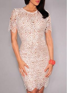 Solid White Lace Pierced Knee Length Dress  on sale only US$25.97 now, buy cheap Solid White Lace Pierced Knee Length Dress  at modlily.com