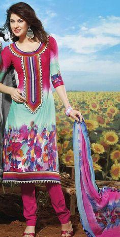 $70 Multi Color Printed Pakistani Style Salwar Kameez 24332