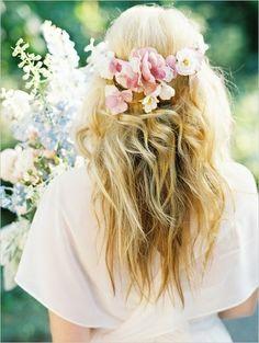 Pretty flowers in hair.