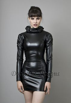 Black Faux Leather or PVC Dress with Long sleeves-Made to Me .- Black faux leather or PVC dress with long sleeves-everything Fetish Fashion, Latex Fashion, Steampunk Fashion, Gothic Fashion, Fashion Models, Sexy Outfits, Sexy Dresses, Black Faux Leather Dress, Dress Black