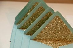 Mint Green and Gold Wedding Invitation Envelopes - so exciting! Could also be an invitation to visit the Land of Oz. Glitter Wedding, Gold Glitter, Glitter Liner, Gold Sparkle, Glitter Party, Sequin Wedding, Teal Party, Glitter Boots, Glitter Crafts