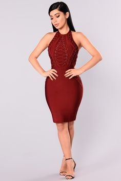 Available In Royal And Burgundy Halter Bandage Dress Open Back Lace Up Detail Mini Length Metal Hardware Detail Hidden Back Zipper 90% Polyester 10% Spandex