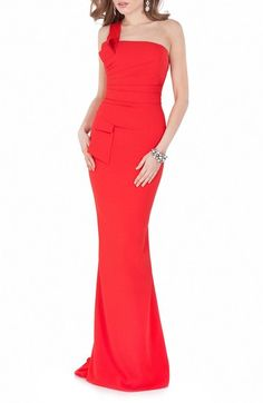 Terani Couture One Shoulder Woven Mermaid Gown available at #Nordstrom