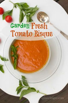 Post image for Tomato Bisque Soup Recipe with Fresh Tomatoes-perfect for our last big tomato harvest!