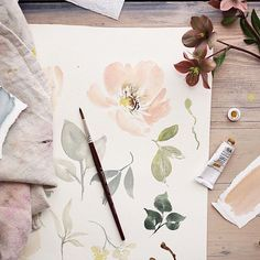 Rustic hand painted flowers and leaves. #rustic #floral #helebores #art #paint #gouache #design #flowers