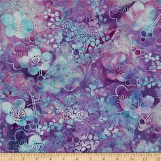 Bali Batiks Handpaints Asian Floral Punch from @fabricdotcom  Designed for Hoffman International Fabrics, this Indonesian batik is perfect for quilting, craft projects, apparel and home décor accents. Colors include shades of teal and purple.