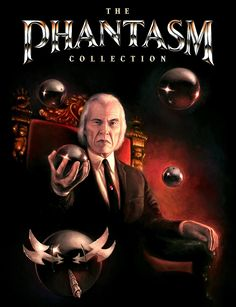 A front cover art for The Phantasm Collection - The Tall Man sits on a chair while holding a silver sphere called Sentinels which floats around him.