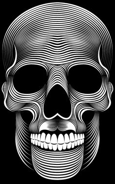 Patrick Seymour is an Illustrator based in Montreal, Canada. His field of expertise are in Digital art, Illustration and Character Design. He is making some awesome black and white illustrations only with simple lines. Skull And Bones, Skull Artwork, Skull, Illustration, Drawings, Line Illustration, Art, Abstract, Skull Wallpaper