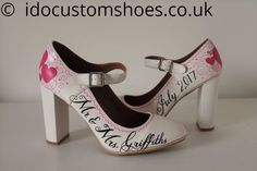 Add some idividuality and show off your love story with a pair of Bespoke Hand painted wedding shoes North Yorkshire, Wedding Shoes, Peep Toe, Hand Painted, Pairs, Heels, Dresses, Fashion, Bhs Wedding Shoes