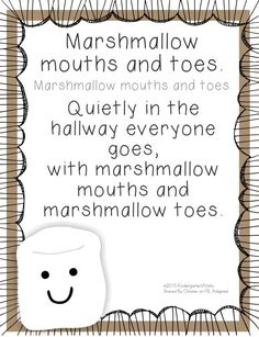 Fun and Simple Hallway Transitions for Kindergarten 5 Quick Hallway Transitions {Printable} - KindergartenWorks: Marshmallow Mouths and Quick Hallway Transitions {Printable} - KindergartenWorks: Marshmallow Mouths and Toes Kindergarten Classroom Management, Classroom Rules, Classroom Ideas, Classroom Organization, Classroom Posters, Classroom Labels, Preschool Transitions, Preschool Songs, Preschool Behavior