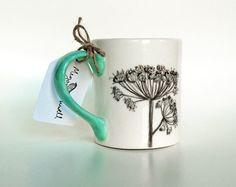Sketchbook floral hand painted ceramic mug