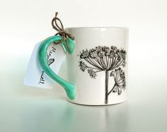 Sketchbook floral hand painted ceramic mug