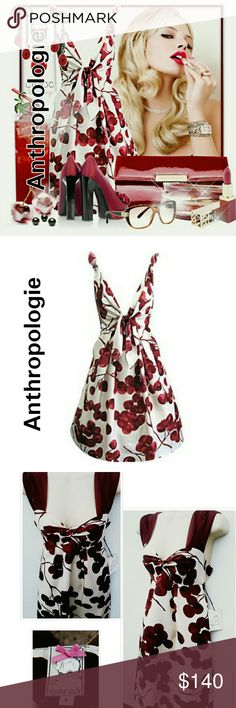 ANTHROPOLOGIE AMAZON JAVA BERRY TIE FRONT DRESS 4 Yoana Baraschi brought ANTHROPOLOGIE  JAVA BERRY & IVORY TIE FRONT DRESS SIZE 4 BUY NOW, MAKE AN OFFER OR BUNDLE AND SAVE Anthropologie Dresses