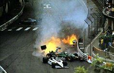 Nelson Piquet (Brabham) & Ricardo Patresse (Alfa Romeo) cras. 1985 Monaco F1 GP