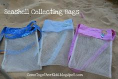 Seashell Collecting Bags. So making these for the trip to the beach this summer!