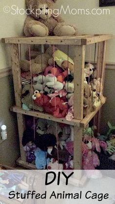 Check out this DIY Stuffed Animal Cage - perfect for keeping all those stuffed animals in one place!