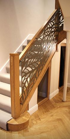 Miles and Lincoln - the UK's leading designer of laser cut screens for architecture and interiors, laser cut panels, balustrades and suspended ceilings Staircase Railing Design, Balcony Railing Design, Home Stairs Design, Modern Staircase, House Design, Laser Cut Screens, Laser Cut Panels, Laser Cut Metal, House Stairs