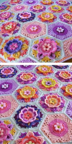 It's great how one pattern can be made in a lot of different ways! Another colour can make a blanket completely change its character! Crochet Square Blanket, Granny Square Crochet Pattern, Crochet Stitches Patterns, Crochet Flower Patterns, Crochet Round, Baby Blanket Crochet, Crochet Motif, Crochet Flowers, Free Crochet